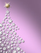 White snowflake Christmas tree on pearly pink