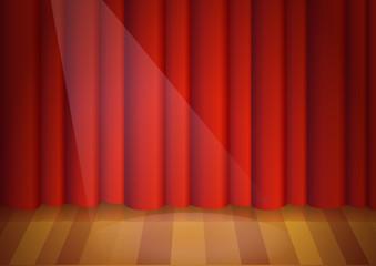 Scène de spectacle et son rideau rouge
