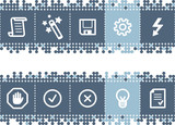 Blue dots bar with script icons poster
