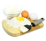 eggs and flour ingredients for dough preparation poster