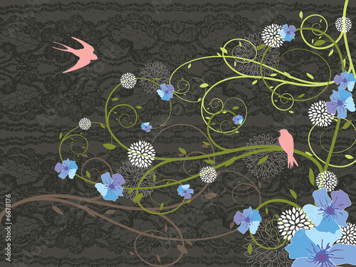 spring blue floral lace and pink swallows