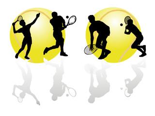 Silhueta de atleta de tenis com reflexo