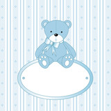 Teddy bear for baby boy - baby arrival announcement poster