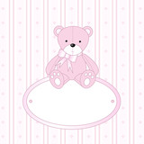 Teddy bear for baby girl - baby arrival announcement poster