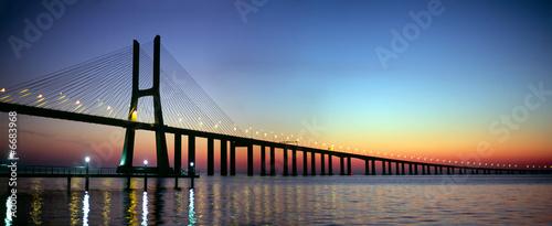 Vasco da Gama bridge panorama at dusk