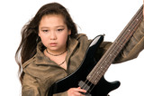 Girl with electro guitar. poster