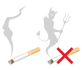 no smoking signs and a devil shaped smoke