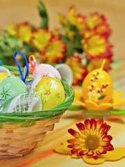 Basket full painted easter of eggs