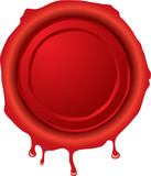 Illustration of an old fashioned hot wax seal in red poster