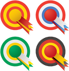 Four rosettes in different color variations with copy space