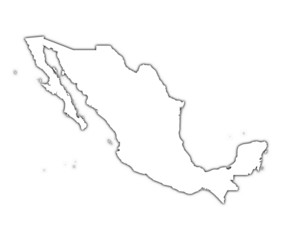 Mexico outline map with shadow