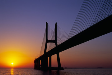 Vasco da Gama Bridge at sunrise