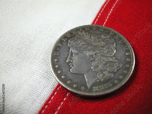 Coin-1888 US Dollar on Flag Stripes