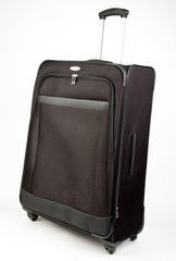 Black Large Size Suitcase On Wheels with Handle Up