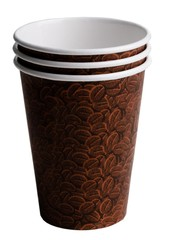 Brown coffee cups with a bean print on a white background