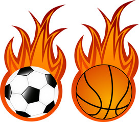 Vector illustration of basketball and soccer balls in flame