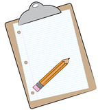 clipboard with pencil and lined paper attached poster