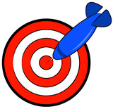 red and white bullseye with blue dart hitting target  poster