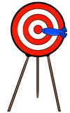 dart hitting bullseye on target on a stand  poster