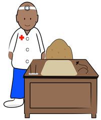 ethnic doctor in office standing behind desk