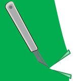 precision knife cutting piece of green paper  poster