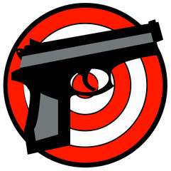 hand gun with red and white target behind