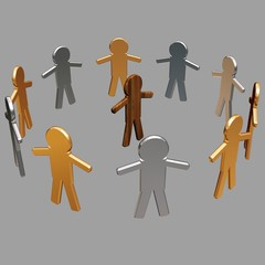 Conceptual image of teamwork - 6. 3D image.