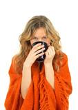 Cozy girl enjoying a cup of tea poster
