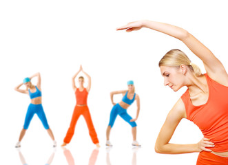 Group of women doing fitness exercise isolated on white