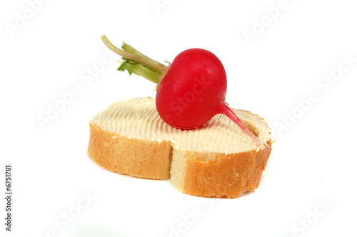 radish on bread