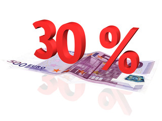3d rendered 30 % percentage on euro banknote