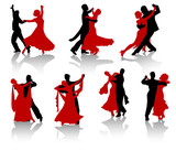 Fototapety Silhouettes of the pairs dancing ballroom dances.
