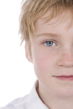 boy with blue eyes and freckles poster