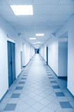Long corridor in scientific laboratory poster