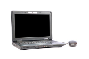 Black portable computer with the black screen
