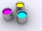 Three paint pots of Cyan, Yellow and Magenta paints poster