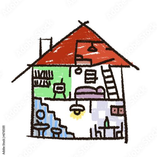 dessin maison interieur photo libre de droits sur la. Black Bedroom Furniture Sets. Home Design Ideas