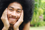 Thai man with a big afro hairstyle. poster