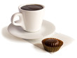 A cup of hot chocolate and a bonbon. contains clipping path