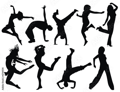 vector silhouette people jumping illustration
