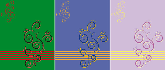 Three variants of a pattern of different color