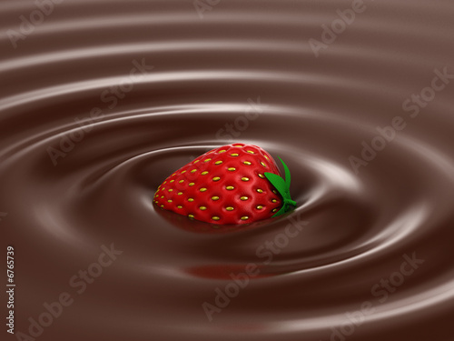 Strawberry in hot chocolate