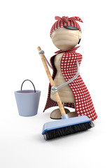 charlady with mop