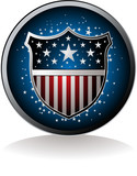 American inspired badge with drop shadow poster