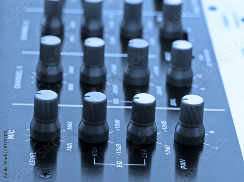 Professional DJ mixer with blue tone