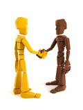 two symbolic human make an agreement poster