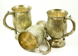 Three antique silver tankards