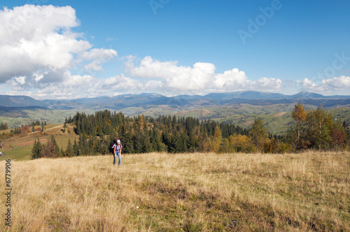 poster of Autumn beginning morning on Carpathian mountain plateau