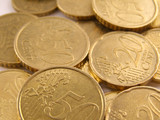 Euro cents money gold colour