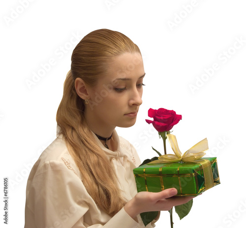beauty Girl with red rose on white. Isolated - 6786105